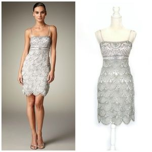SUE WONG Silver Beaded Scalloped Cocktail Dress